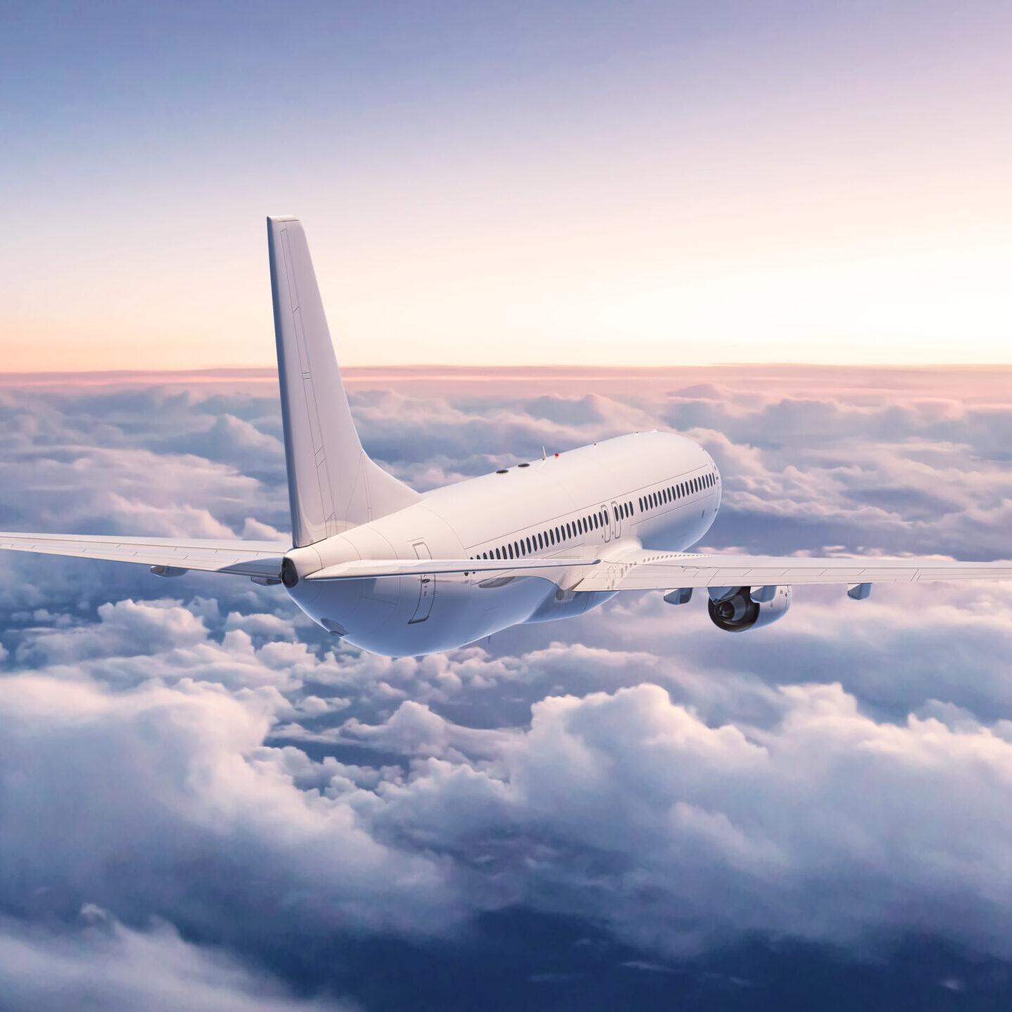 Airplane,In,The,Sky,,3d,Rendering